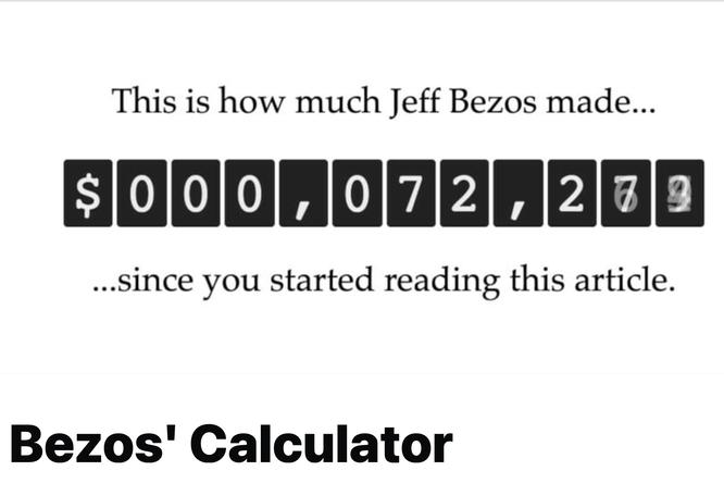 Появился онлайн-счетчик, показывающий рост доходов Джеффа Безоса — самого богатого человека вмире
